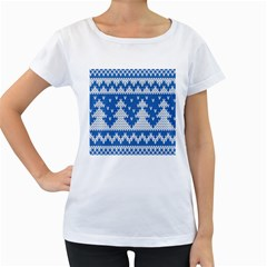 Knitted Fabric Christmas Pattern Vector Women s Loose Fit T Shirt (white)