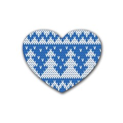 Knitted Fabric Christmas Pattern Vector Rubber Coaster (heart)