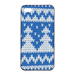 Knitted Fabric Christmas Pattern Vector Apple Iphone 4/4s Seamless Case (black)