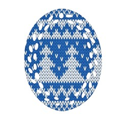 Knitted Fabric Christmas Pattern Vector Ornament (oval Filigree)