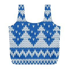 Knitted Fabric Christmas Pattern Vector Full Print Recycle Bags (l)
