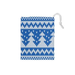 Knitted Fabric Christmas Pattern Vector Drawstring Pouches (small)