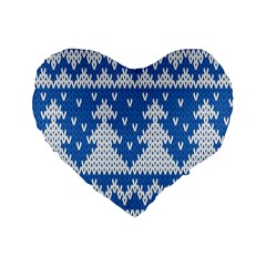 Knitted Fabric Christmas Pattern Vector Standard 16  Premium Flano Heart Shape Cushions