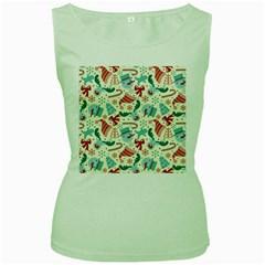 Pattern Christmas Elements Seamless Vector       Women s Green Tank Top