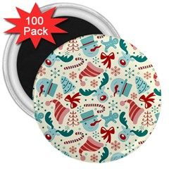 Pattern Christmas Elements Seamless Vector       3  Magnets (100 Pack)