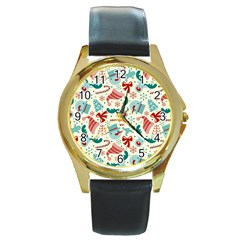 Pattern Christmas Elements Seamless Vector       Round Gold Metal Watch