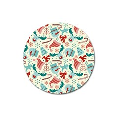 Pattern Christmas Elements Seamless Vector       Magnet 3  (round)