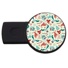Pattern Christmas Elements Seamless Vector       Usb Flash Drive Round (4 Gb)