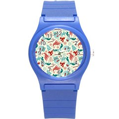 Pattern Christmas Elements Seamless Vector       Round Plastic Sport Watch (s)