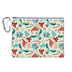 Pattern Christmas Elements Seamless Vector       Canvas Cosmetic Bag (l)