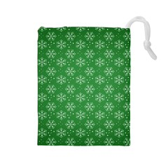 Snowflake Vector Pattern Drawstring Pouches (large)