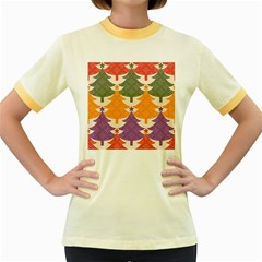 Tree Christmas Pattern Women s Fitted Ringer T Shirts