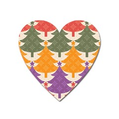 Tree Christmas Pattern Heart Magnet