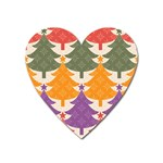Tree Christmas Pattern Heart Magnet Front
