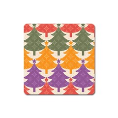 Tree Christmas Pattern Square Magnet
