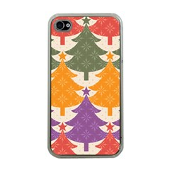 Tree Christmas Pattern Apple Iphone 4 Case (clear)