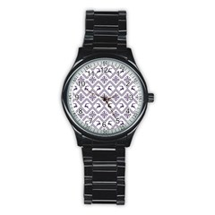 Simple Christmas Pattern Seamless Vectors  Stainless Steel Round Watch