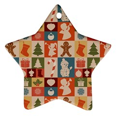 Xmas  Cute Christmas Seamless Pattern Ornament (star)