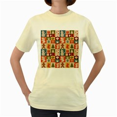 Xmas  Cute Christmas Seamless Pattern Women s Yellow T Shirt