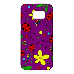 Ladybugs - purple Samsung Galaxy S7 Edge Hardshell Case