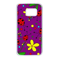 Ladybugs   Purple Samsung Galaxy S7 White Seamless Case