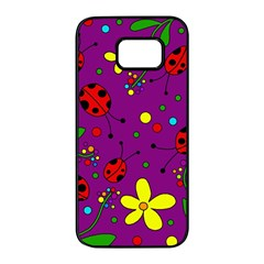 Ladybugs - purple Samsung Galaxy S7 edge Black Seamless Case
