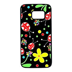 Flowers and ladybugs Samsung Galaxy S7 Black Seamless Case