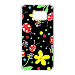 Flowers and ladybugs Samsung Galaxy S7 White Seamless Case