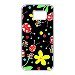 Flowers and ladybugs Samsung Galaxy S7 edge White Seamless Case