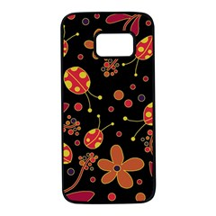 Flowers and ladybugs 2 Samsung Galaxy S7 Black Seamless Case