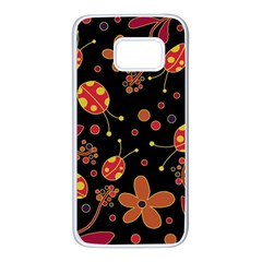 Flowers and ladybugs 2 Samsung Galaxy S7 White Seamless Case