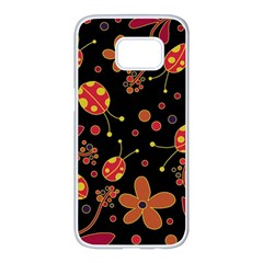 Flowers and ladybugs 2 Samsung Galaxy S7 edge White Seamless Case