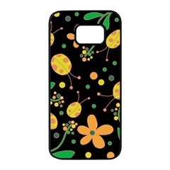 Ladybugs and flowers 3 Samsung Galaxy S7 edge Black Seamless Case