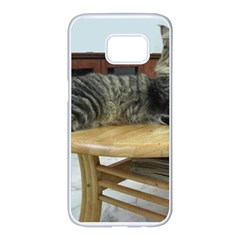Maine Coon Laying 2 Samsung Galaxy S7 edge White Seamless Case