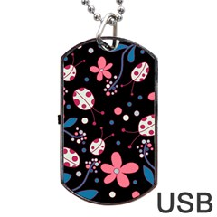 Pink Ladybugs And Flowers  Dog Tag Usb Flash (two Sides)