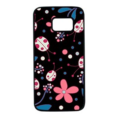 Pink ladybugs and flowers  Samsung Galaxy S7 Black Seamless Case