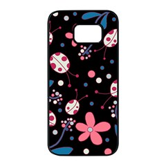 Pink ladybugs and flowers  Samsung Galaxy S7 edge Black Seamless Case