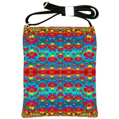 Peace Flowers And Rainbows In The Sky Shoulder Sling Bags