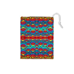 Peace Flowers And Rainbows In The Sky Drawstring Pouches (small)