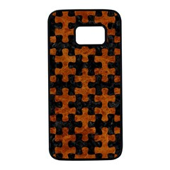 Puzzle1 Black Marble & Brown Marble Samsung Galaxy S7 Black Seamless Case