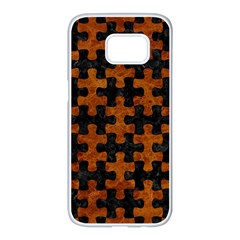 Puzzle1 Black Marble & Brown Marble Samsung Galaxy S7 Edge White Seamless Case