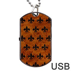 Royal1 Black Marble & Brown Marble Dog Tag Usb Flash (two Sides)