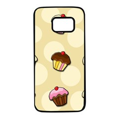 Colorful cupcakes pattern Samsung Galaxy S7 Black Seamless Case