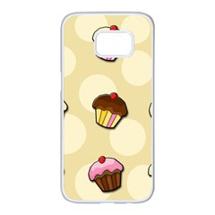 Colorful cupcakes pattern Samsung Galaxy S7 edge White Seamless Case