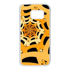Spider Helloween Yellow Samsung Galaxy S7 White Seamless Case