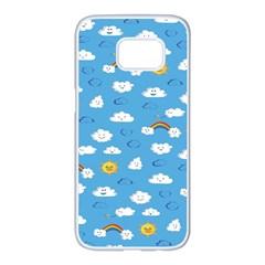 White Clouds Samsung Galaxy S7 Edge White Seamless Case
