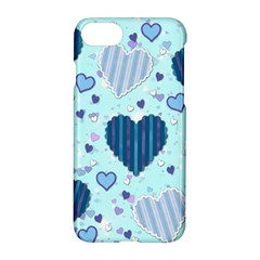 Light And Dark Blue Hearts Apple Iphone 7 Hardshell Case
