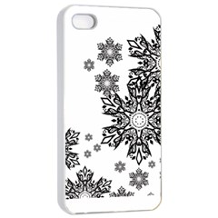 Beautiful Black and white snowflakes  Apple iPhone 4/4s Seamless Case (White)