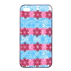 Pink Snowflakes Pattern Apple iPhone 4/4s Seamless Case (Black)