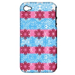 Pink Snowflakes Pattern Apple iPhone 4/4S Hardshell Case (PC+Silicone)